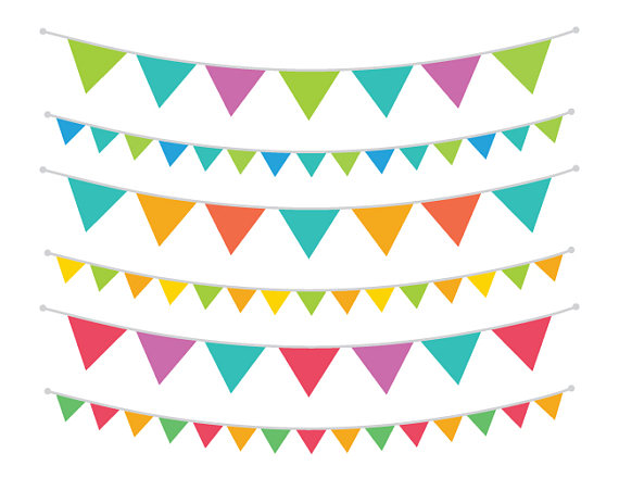 570x440 Carnival Rainbow Bunting Banner Clip Art Set Flag String Party