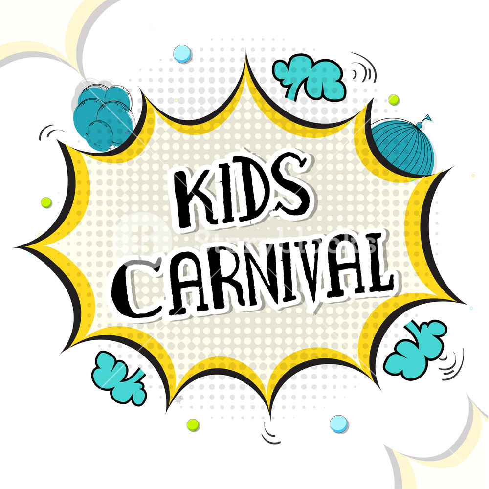 1000x1000 Kids Carnival Lettering Design In Comic Pop Art Style. Abstract