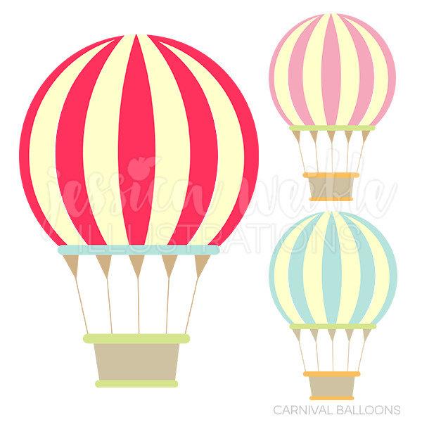 600x600 Carnival Hot Air Balloons Cute Digital Clipart Commercial