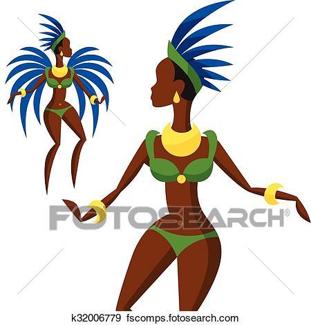 450x470 Clip Art Of Illustration Of Brazilian Carnival Girl Dansing Samba