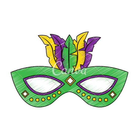 550x550 Carnival Mask With Feathers Vector