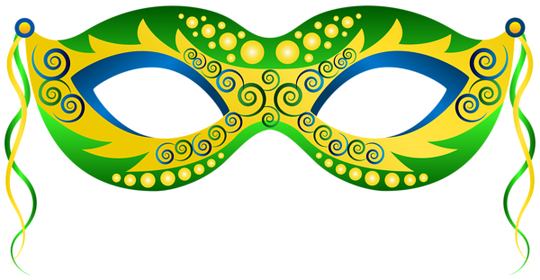 600x311 Green Yellow Carnival Mask Png Clip Art Image L,