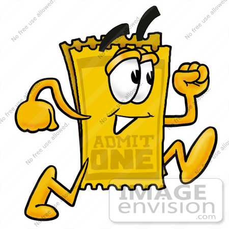 450x450 Clip Art Graphic Of A Golden Admission Ticket Character Running