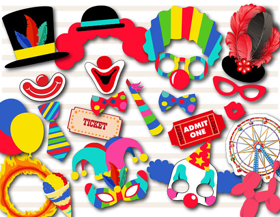 570x441 Printable Carnival Party Photo Booth Props Circus Clown Photo