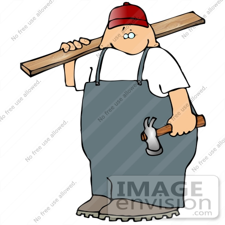 450x450 Carpenter With A Hammer And Piece Of Wood Clipart
