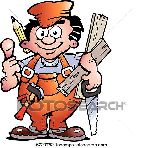 450x470 Clipart Of Carpenter Handyman K6720782