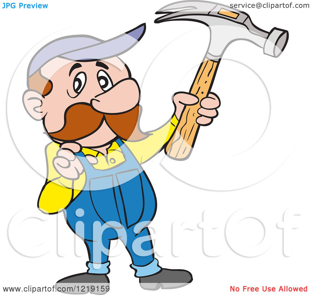 1080x1024 Clipart Of A Caucasian Carpenter Man Holding Up A Hammer