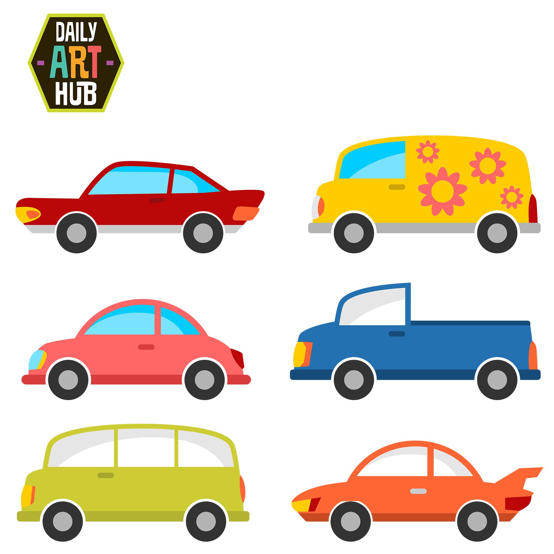 1800x1800 Cute Cars Clip Art Set Daily Art Hub