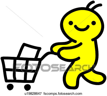 450x402 Clip Art Of Shopping Cart, Person, People, Grocery, Cart U19828647