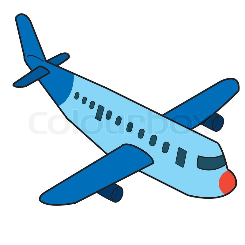800x800 Cartoon Airplane Isolated On White Background Vector Stock