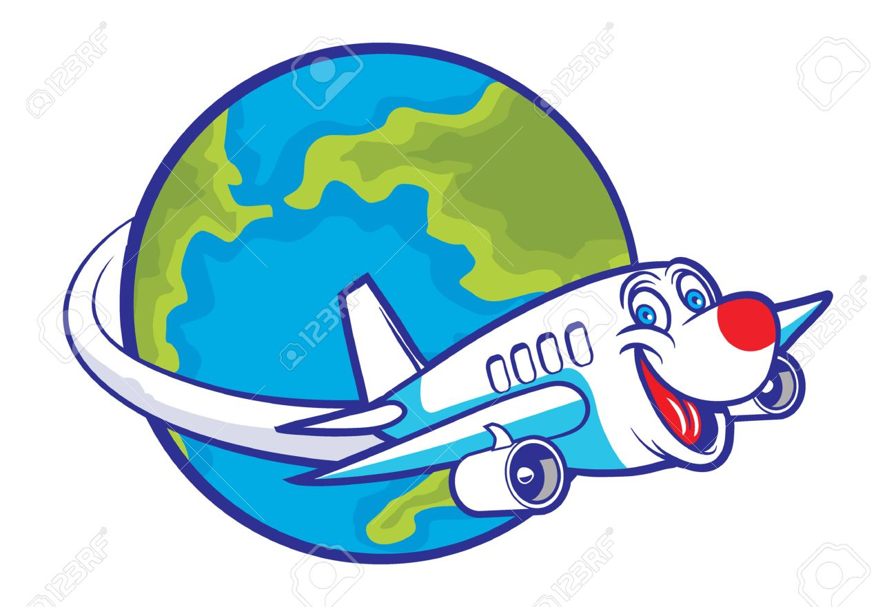 1300x881 Cartoon Plane Flying Around The Globe Royalty Free Cliparts