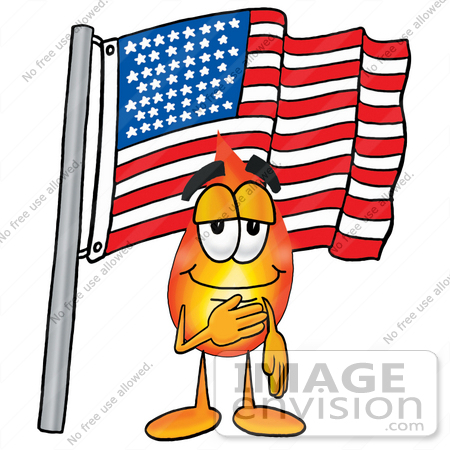 450x450 Clip Art Graphic Of A Fire Cartoon Character Pledging Allegiance