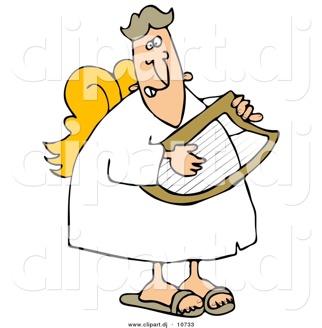 1024x1044 Vector Clipart Of A Cartoon Male Angel Playing A Lyre By Djart