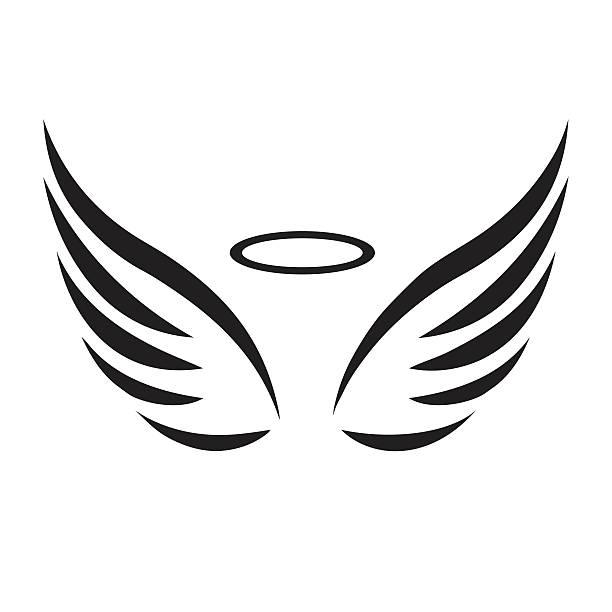 Line Art Wings : Cartoon angel wings clipart free download best
