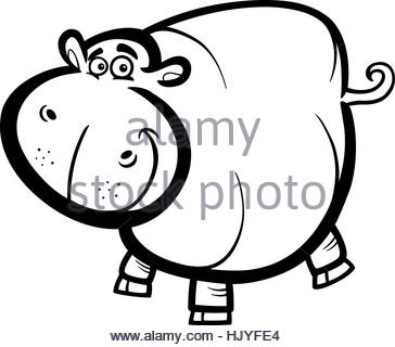 364x320 Black And White Cartoon Illustration Of Hippopotamus Wild Animal