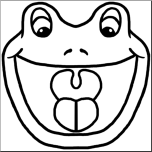 304x304 Clip Art Cartoon Animal Faces Frog Bampw I Abcteach