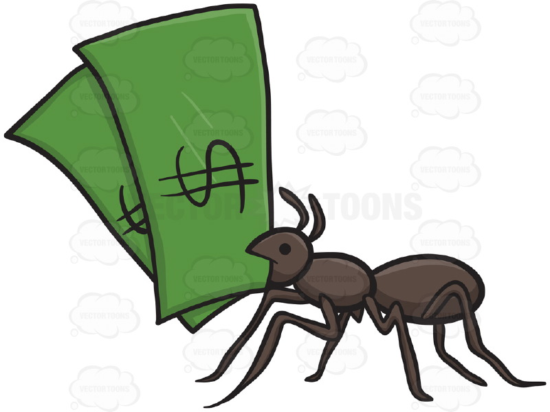 800x600 Black Ant Holding Two Green Dollar Bills In Mouth Cartoon Clipart