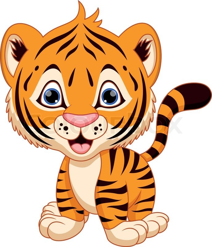 688x800 Cute Baby Tiger Cartoon Stock Vector Colourbox