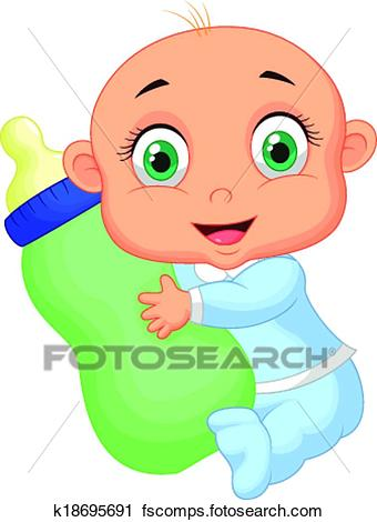 340x470 Clipart Of Baby Boy Cartoon Holding Milk Bottl K18695691