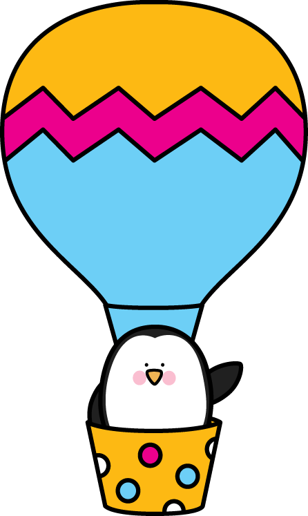 446x747 Penguin In A Hot Air Balloon. Transportation Clip Art