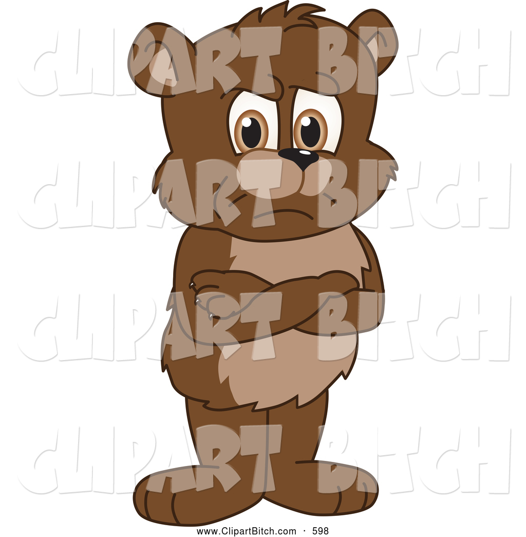 1024x1044 Clip Vector Cartoon Art Of A Mad Bear Cub School Mascot Standing