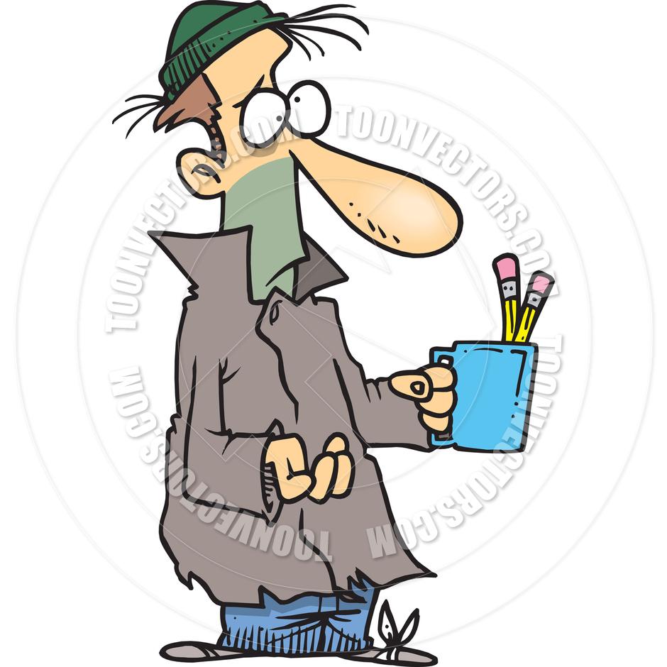 940x940 Cartoon Beggar By Ron Leishman Toon Vectors Eps