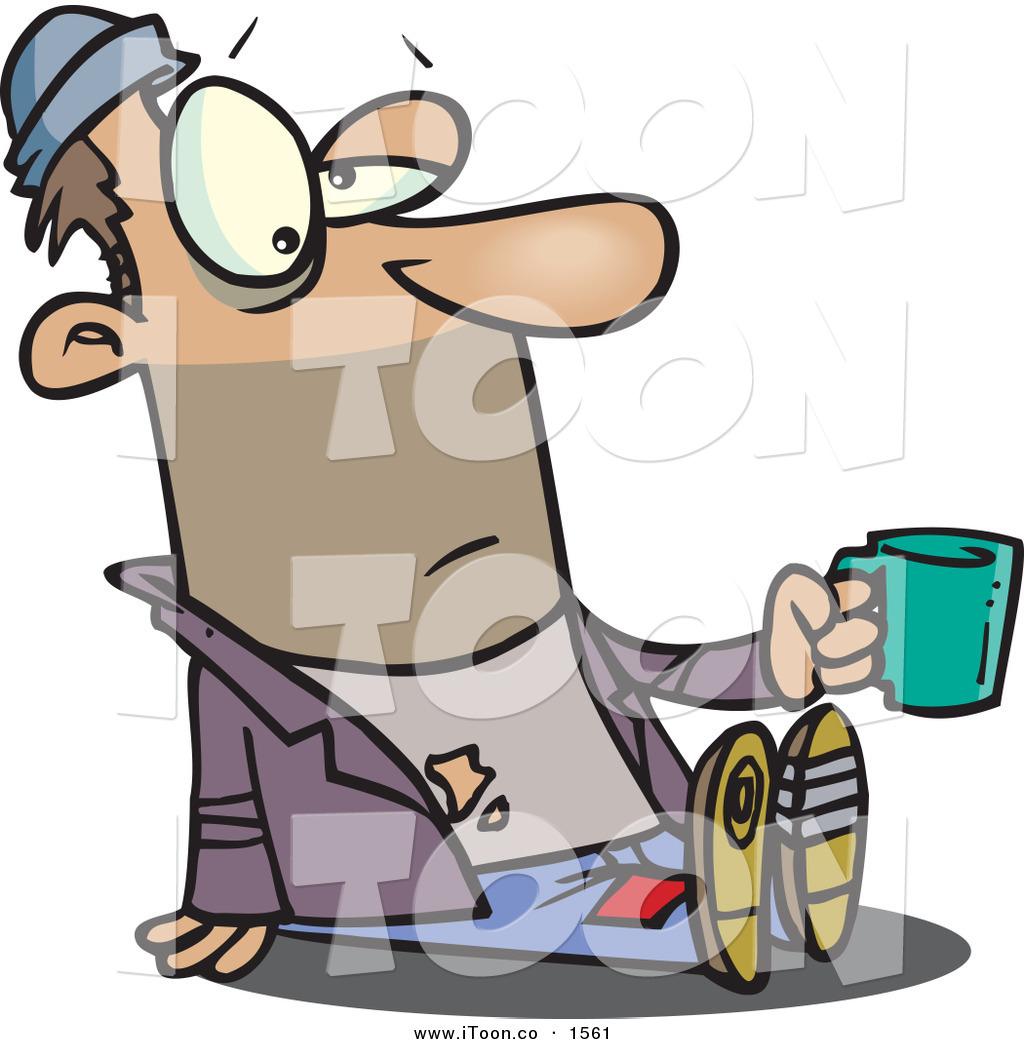 1024x1044 Cartoon Bored Caucasian Homeless Beggar Man Sitting On The Ground
