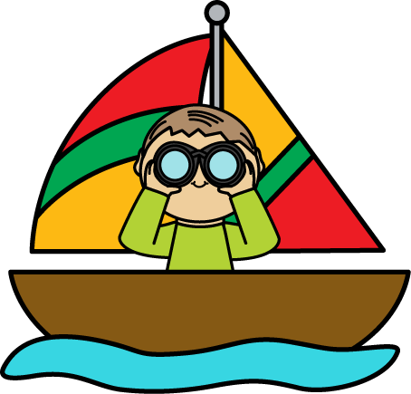 454x435 Boy With Binoculars In A Sailboat Clip Art