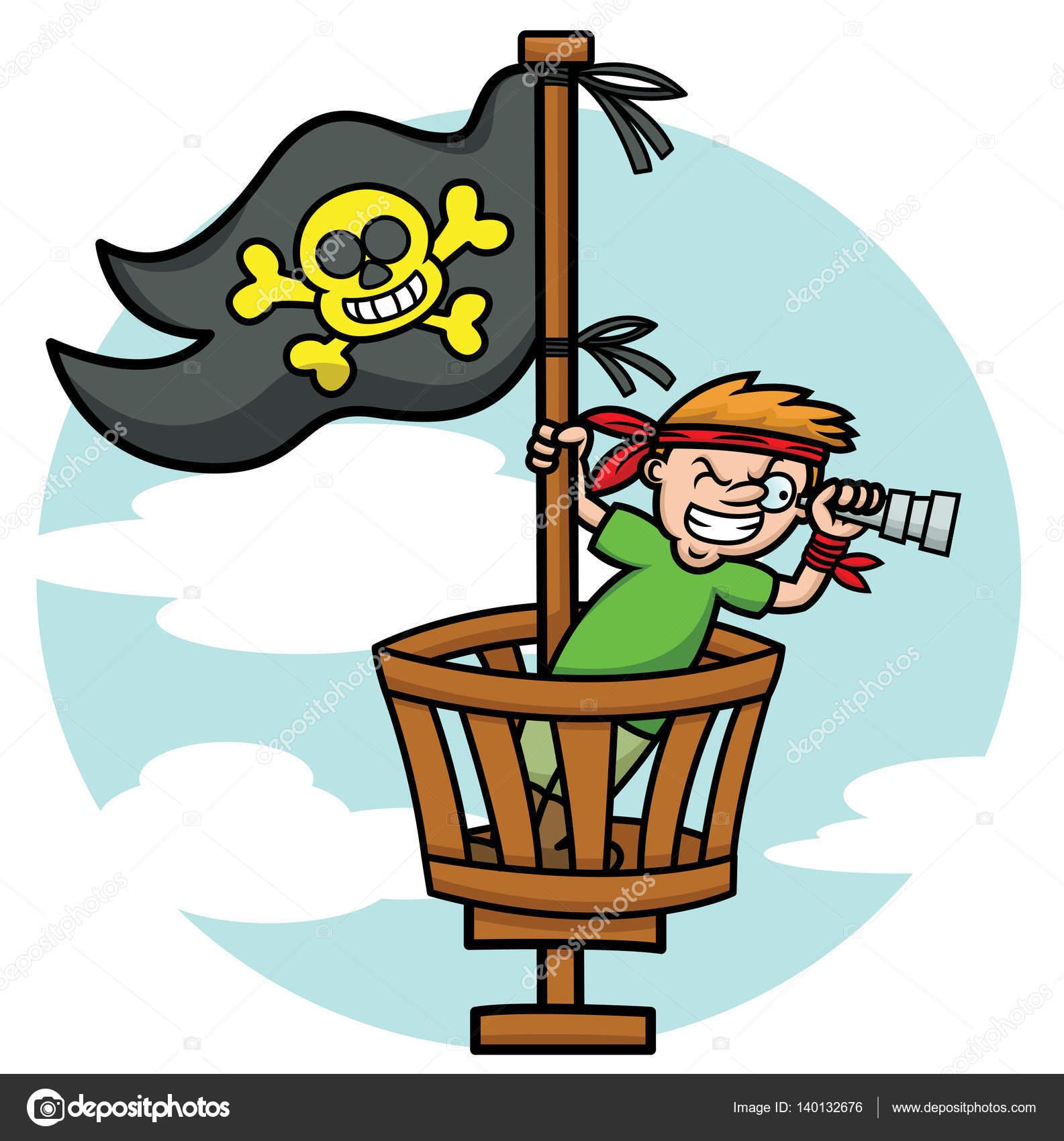 1585x1700 Pirate Kid In The Crows Nest Looking Through Binoculars Cartoon
