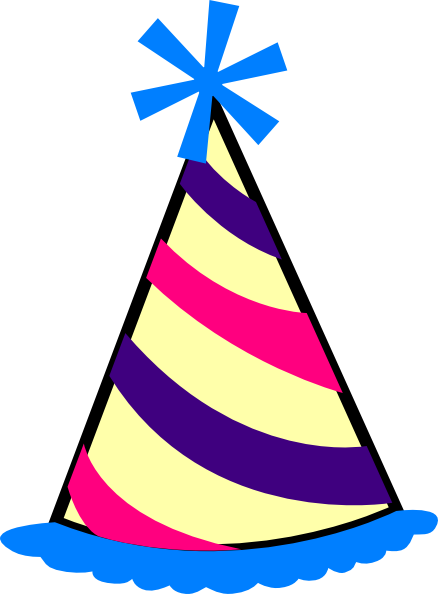 438x594 Birthday Hat (Blue, Purple, Pink, Yellow) Clip Art