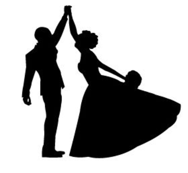 600x553 Bride And Groom Silhouette Clipart