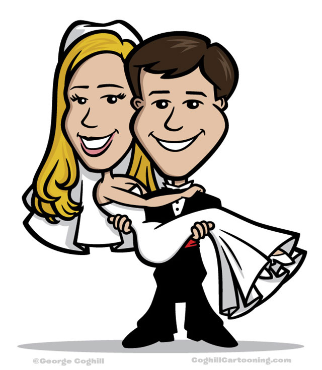 640x736 Bride Amp Groom Wedding Cartoon Character Portraits