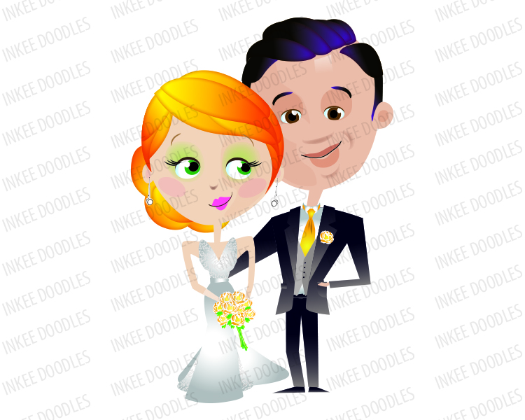 750x600 Bride And Groom Clipart. Comes In A Set Of 16 Different Design