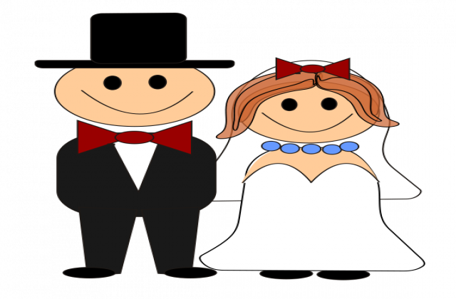 640x420 Bride And Groom Free Cartoon Bride Groom Clip Art Litle Pups