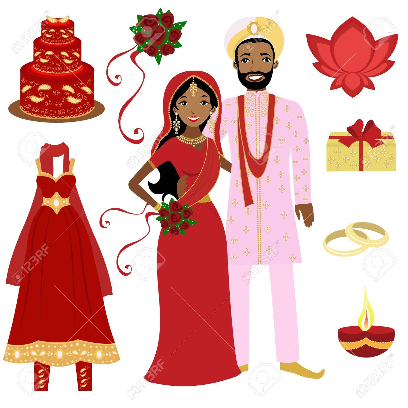 1300x1300 Indian Bride And Groom Clipart