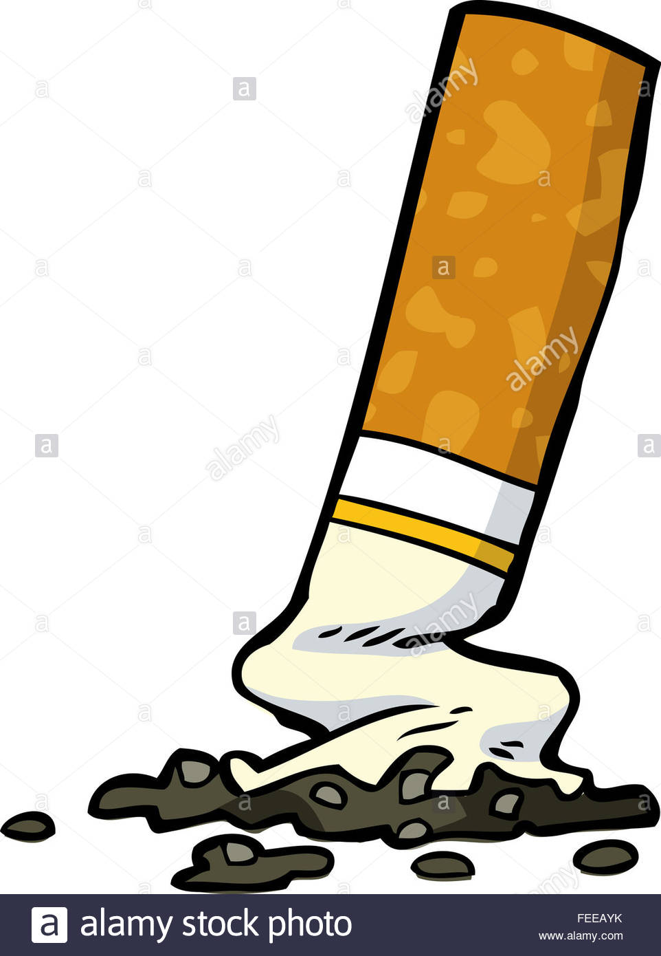 962x1390 Cartoon Cigarette Butt On A White Background Stock Photo, Royalty