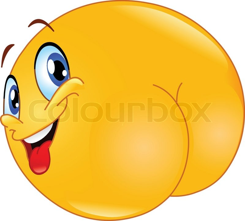 800x723 Naughty Emoticon Showing His Butt Stock Vector Colourbox