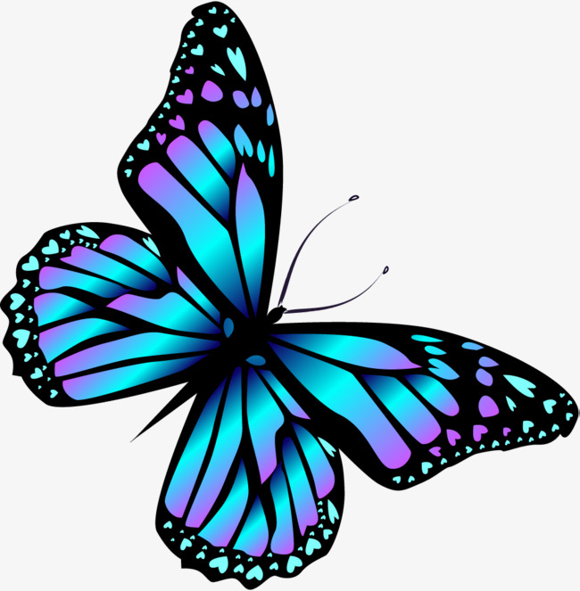 650x663 Cartoon Blue Butterfly, Cartoon, Blue, Butterfly Png Image