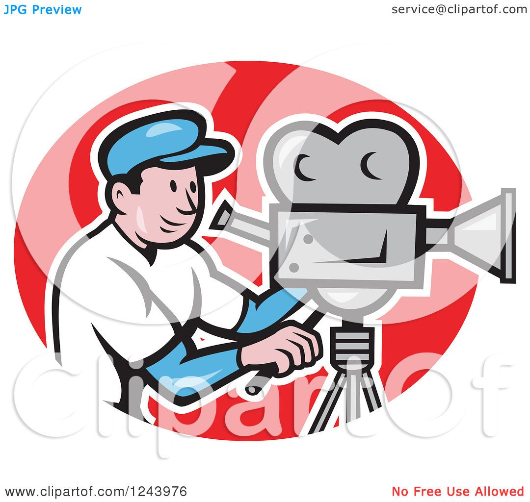 1080x1024 Clipart Of A Cartoon Camera Man In A Red Oval