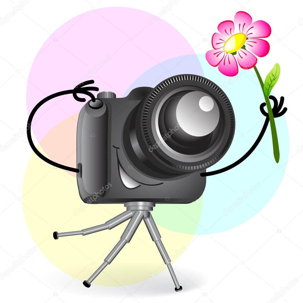 1024x1024 Cute Cartoon Camera With Flower Stock Vector Elenita