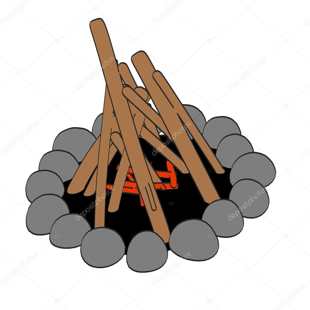 1024x1024 Cartoon image of campfire — Stock Photo © 3drenderings