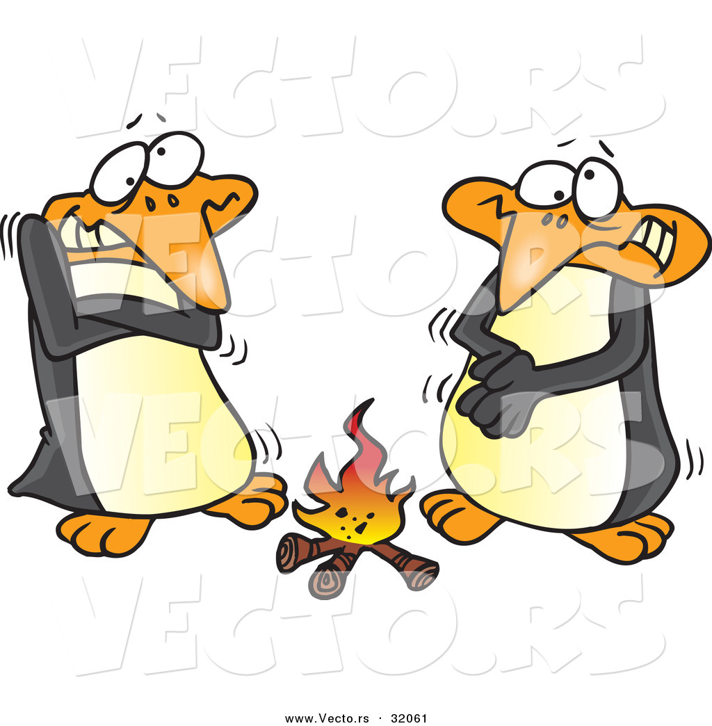 1024x1044 Vector of Cartoon Penguins Warming up Beside a Campfire by