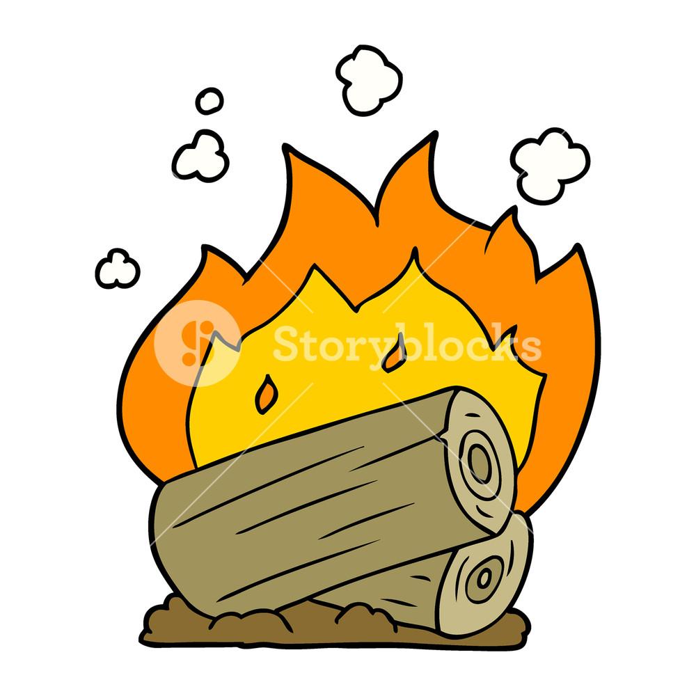 1000x1000 cartoon campfire Royalty Free Stock Image