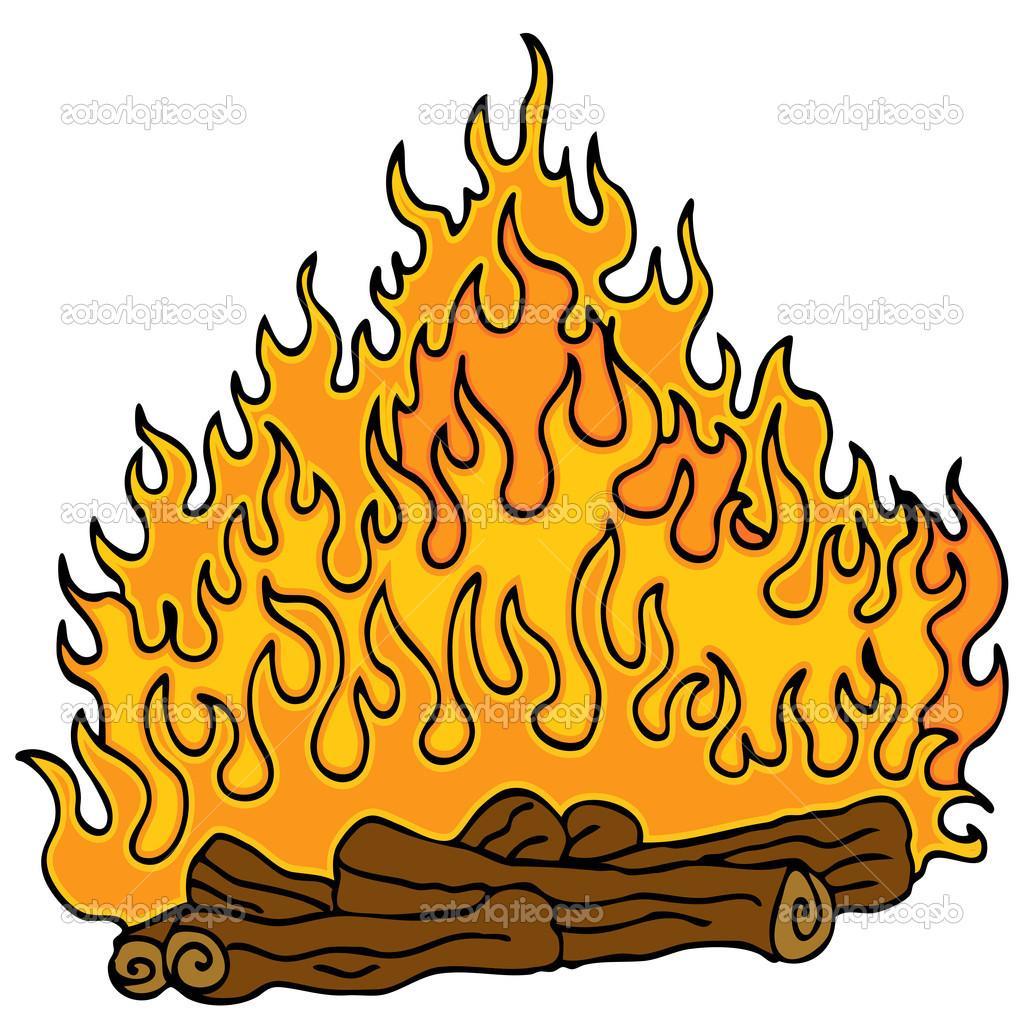 1024x1024 Best HD Cartoon Fire With Logs Campfire Image