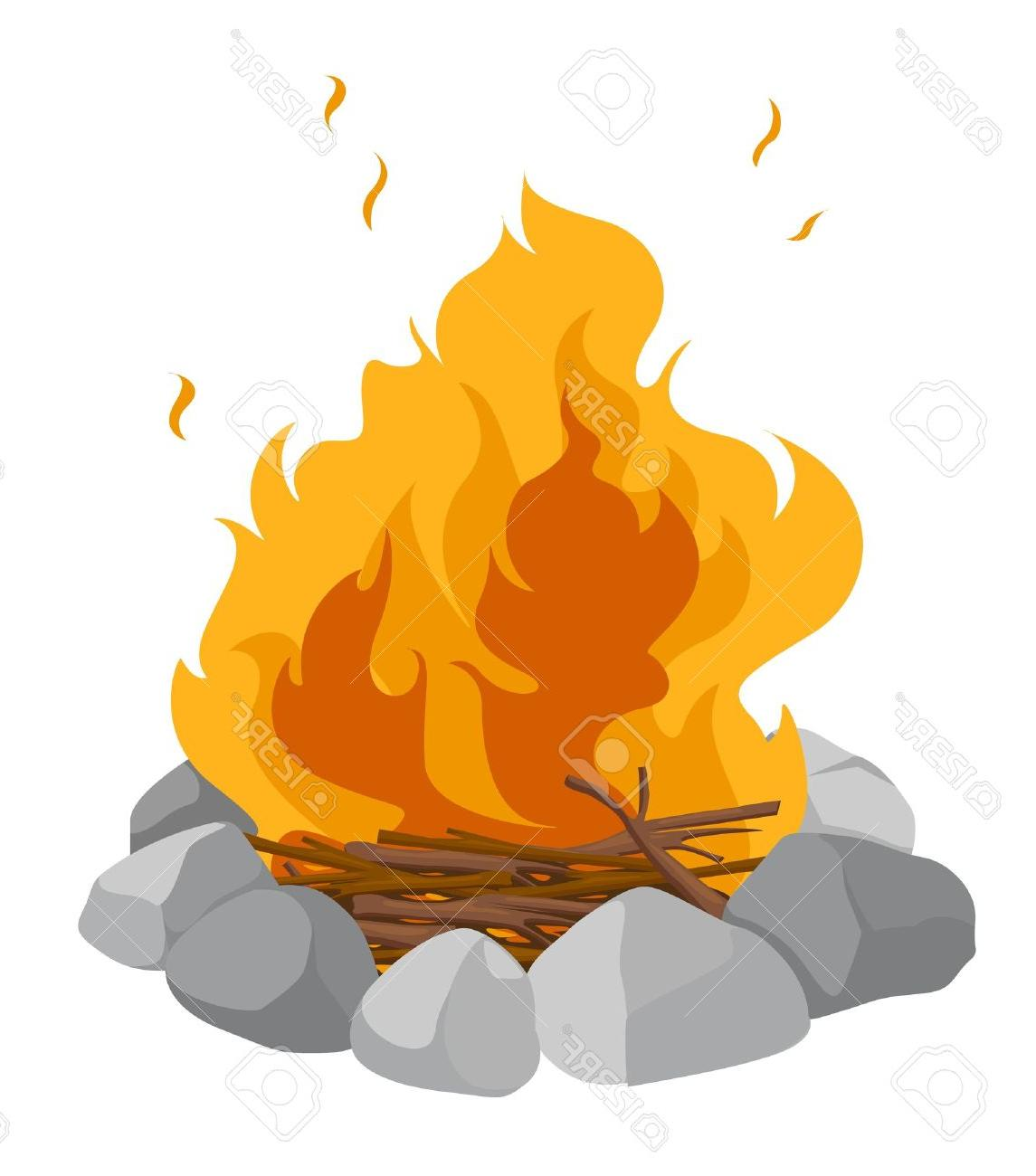1145x1300 Best HD Isolated Campfire On White Background Stock Vector Fire