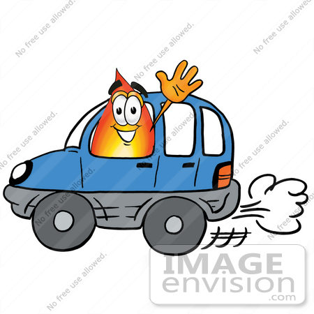 450x450 Clip Art Graphic Of A Fire Cartoon Character Driving A Blue Car