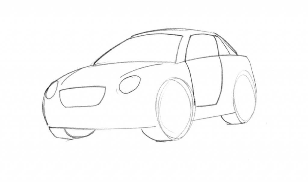 1024x611 Cartoon Vehicle Drawings How To Draw A Cartoon Car Stepstep
