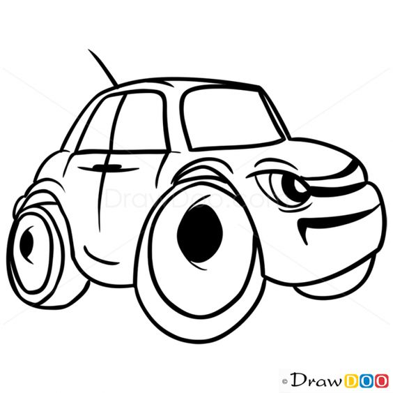 564x563 How To Draw Grumpy Car, Cartoon Cars