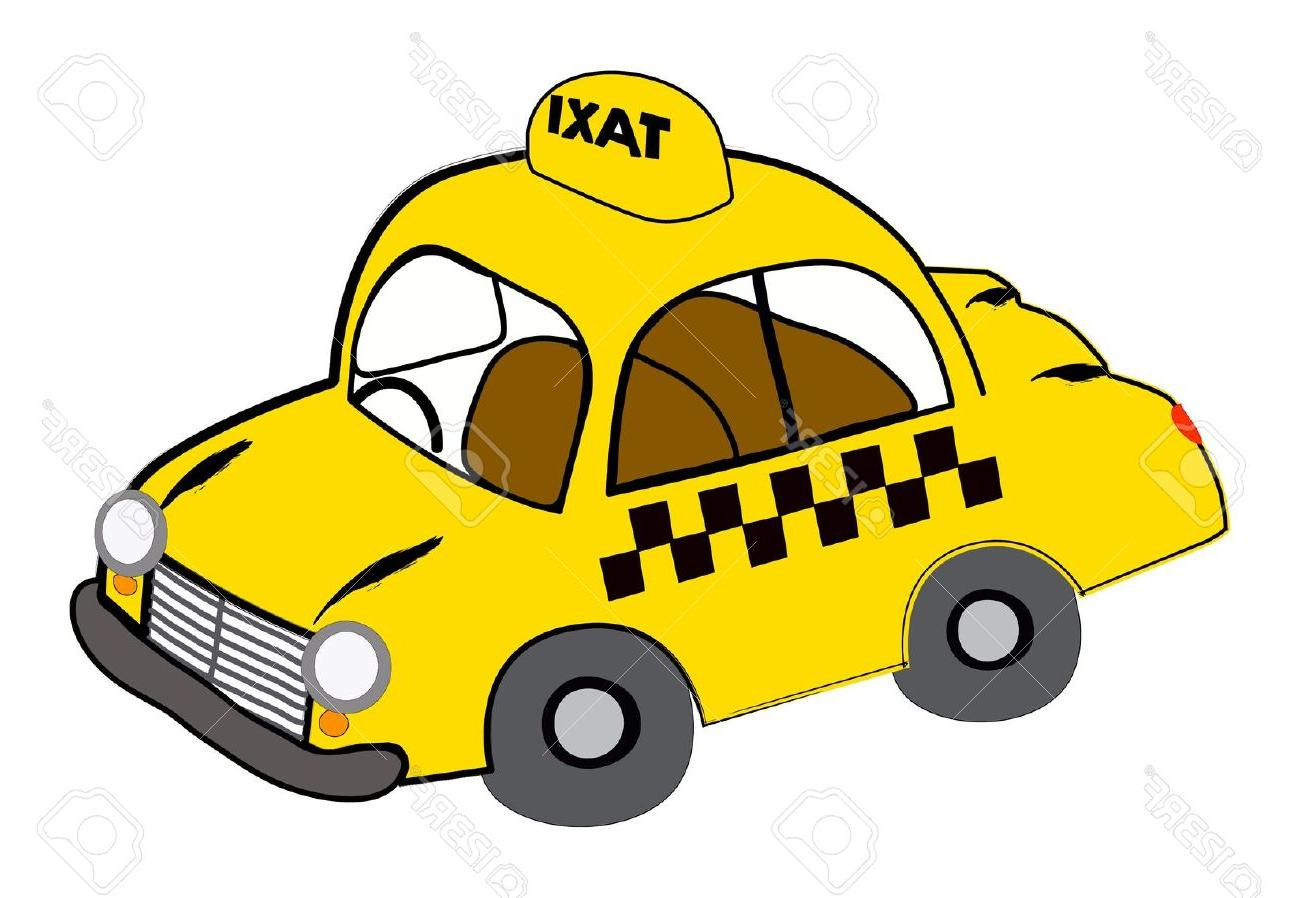 1300x898 Unique Yellow Taxi Illustration On White Stock Vector Car Cartoon