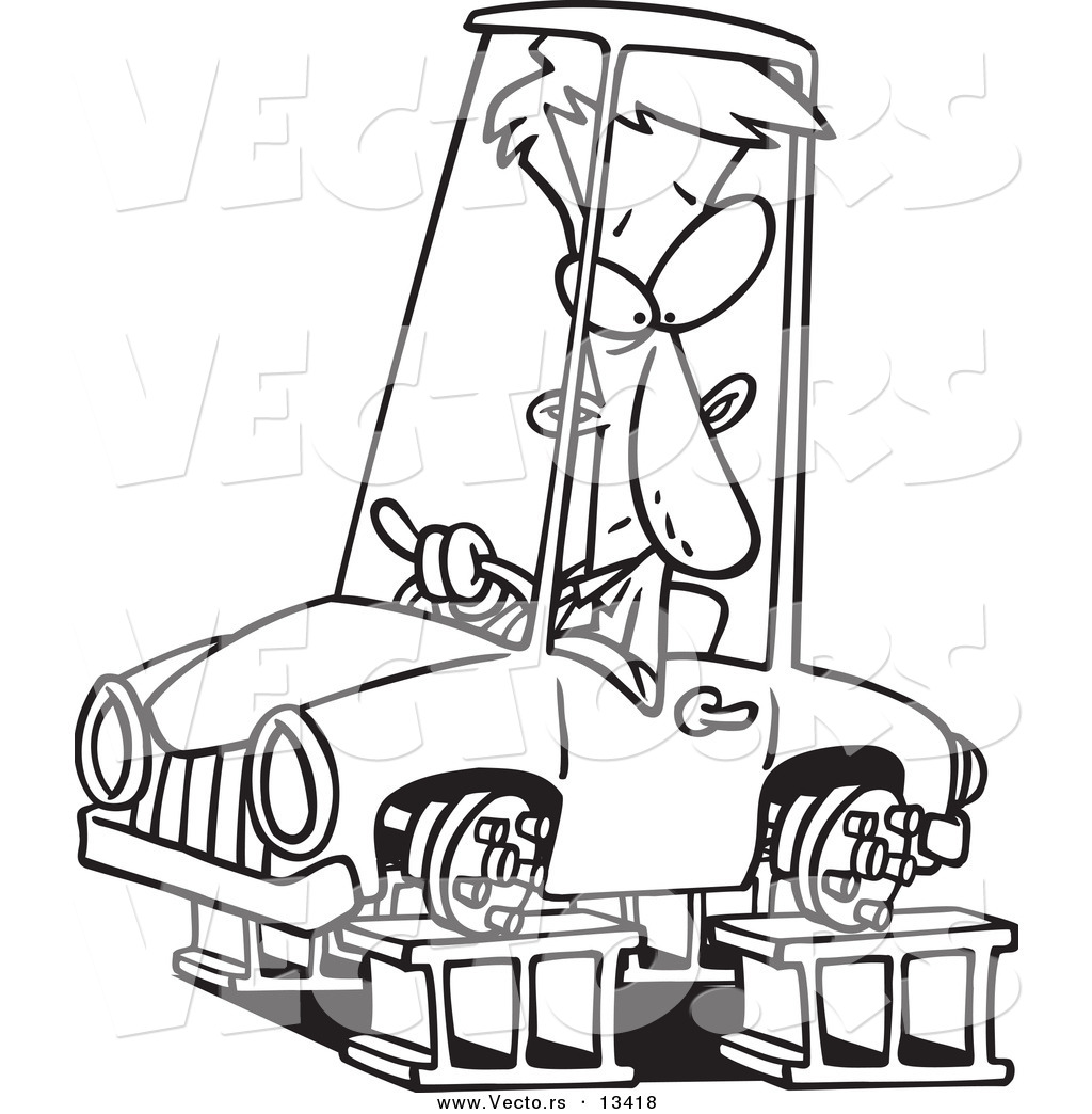 1024x1044 Vector Of A Cartoon Man In A Tireless Car On Blocks